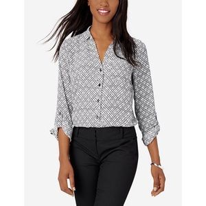 The Limited Ashton Black & White Print Blouse